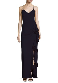 Badgley Mischka Ruffled Column Gown