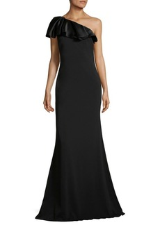 Badgley Mischka Ruffled One-Shoulder Gown