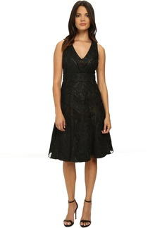 Badgley Mischka Runaway Lace Collage Cocktail Dress
