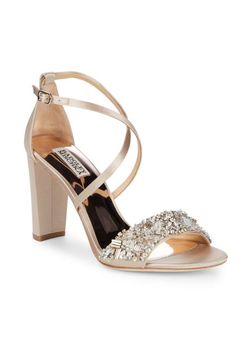 5aa6b7958f14 Badgley Mischka Badgley Mischka Sandra Embellished Satin Sandals