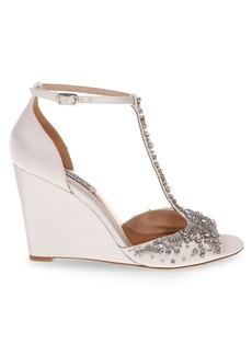 Badgley Mischka Sarah Satin-Embellished Wedge Sandals