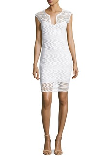 Badgley Mischka Scalloped Lace Cocktail Dress