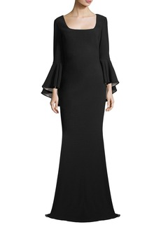 Badgley Mischka Scoop-Neck Bell-Sleeve Column Crepe Evening Gown