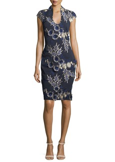 Badgley Mischka Scoop-Neck Cap-Sleeve Floral-Embroidered Cocktail Dress