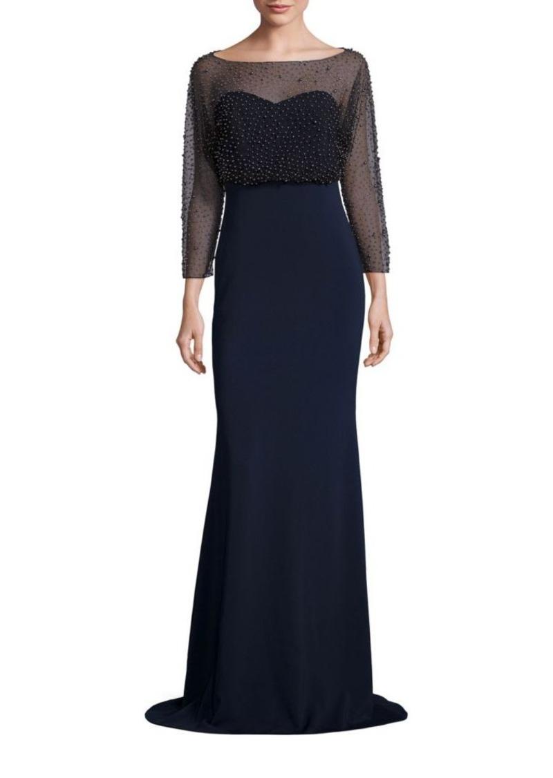 SALE! Badgley Mischka Badgley Mischka Sequin Blouson Gown