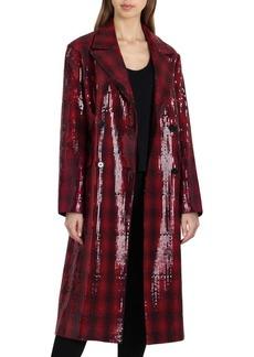 Badgley Mischka Sequin Coated Plaid Coat