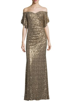 Badgley Mischka Sequin Off-the-Shoulder Evening Gown