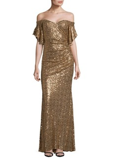 Badgley Mischka Sequin Off-The-Shoulder Gown