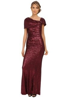 Badgley Mischka Sequin Off the Shoulder Gown