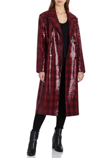 Badgley Mischka Sequin Plaid Double Breasted Coat