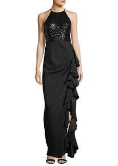 Badgley Mischka Sequin Racerback Ruffle-Slit Evening Gown