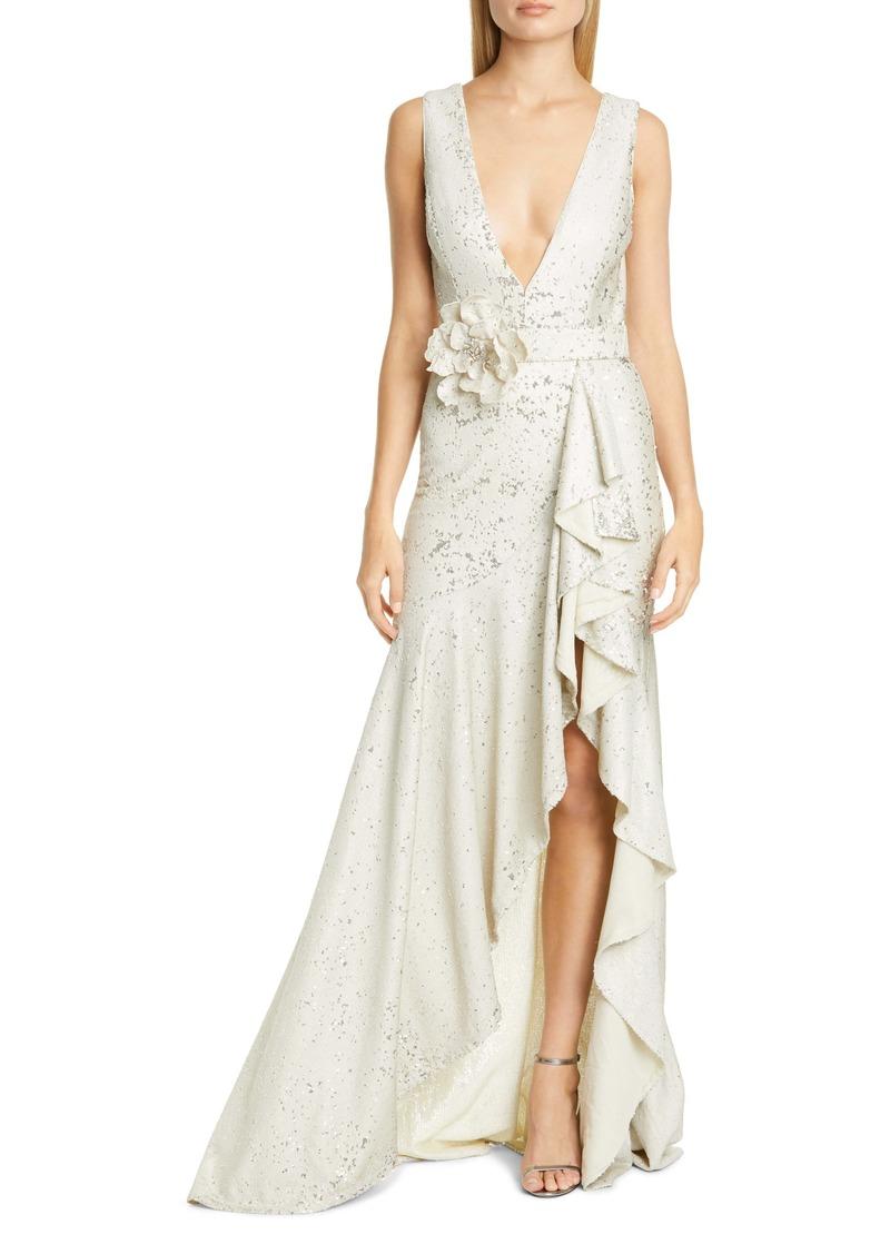 Badgley Mischka Sequin Ruffle Gown