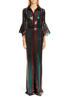 Badgley Mischka Sequin Stripe Gown