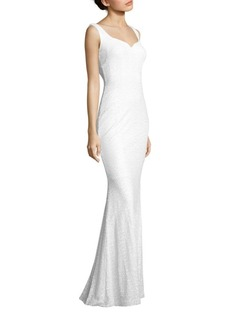 Badgley Mischka Sequined Cowl-Back Gown