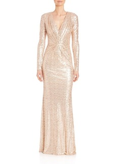 Badgley Mischka Sequined Long Sleeve V-Neck Gown