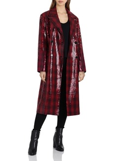 Badgley Mischka Sequined Plaid Coat