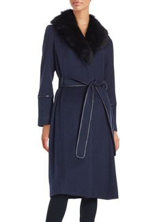 Badgley Mischka Shearling Collared Wrap Coat