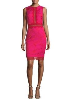 Badgley Mischka Sheath Lace-Brocade Combo Cocktail Dress