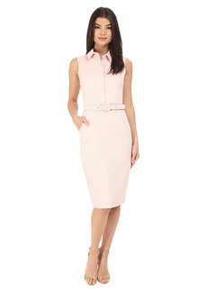 Badgley Mischka Sheath Shirt Dress with Belt