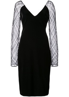 Badgley Mischka sheer sleeves dress - Black