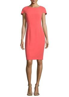 Badgley Mischka Short-Sleeve Cape-Back Sheath Dress
