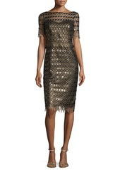 Badgley Mischka Short-Sleeve Circle Lace Sheath Dress