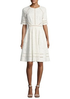 Badgley Mischka Short-Sleeve Floral Lace Novelty Dress