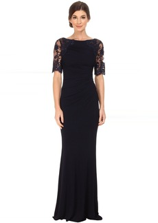 Badgley Mischka Short Sleeve Lace and Matte Jersey Gown