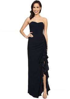Badgley Mischka Side Slit Ruffle Dress
