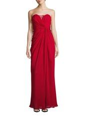 Badgley Mischka Silk Strapless Drape Gown
