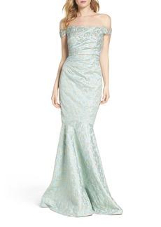 Badgley Mischka Siren Off the Shoulder Mermaid Gown