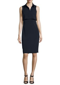 Badgley Mischka Sleeveless Collared Stretch Crepe Popover Dress