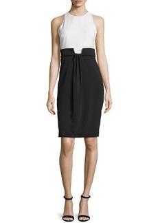 Badgley Mischka Sleeveless Draped-Front Colorblock Dress