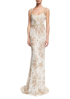 Badgley Mischka Sleeveless Embellished Draped Gown