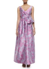 Badgley Mischka Sleeveless Floral Bow-Belt Gown