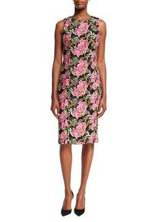 Badgley Mischka Sleeveless Floral-Embroidered Cocktail Sheath Dress