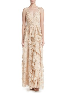 Badgley Mischka Sleeveless Floral Lace Ruffle Gown