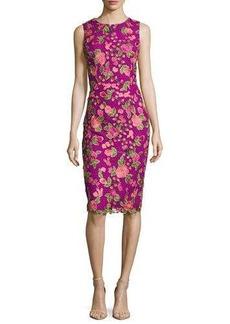 Badgley Mischka Sleeveless Floral Mesh Sheath Dress