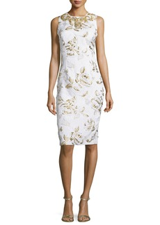 Badgley Mischka Sleeveless Floral-Print Cocktail Dress