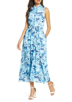 Badgley Mischka Sleeveless Floral Shirt Dress