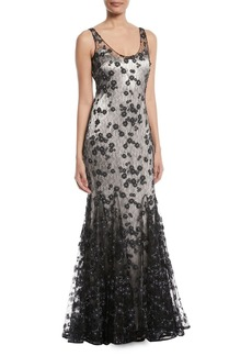 Badgley Mischka Sleeveless Lace Godet Slip Gown