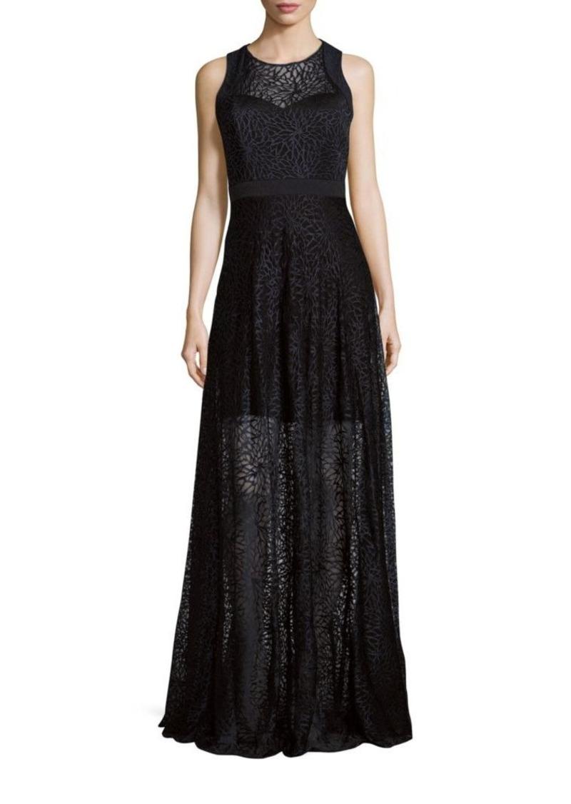 Badgley Mischka Sleeveless Lace Overlay Gown