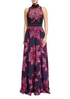 Badgley Mischka Sleeveless Mock-Neck Embellished Floral Gown