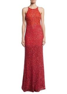 Badgley Mischka Sleeveless Ombre Sequin Gown