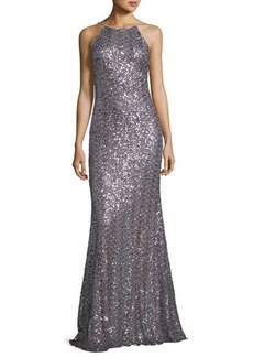 Badgley Mischka Sleeveless Sequin Cowl-Back Gown