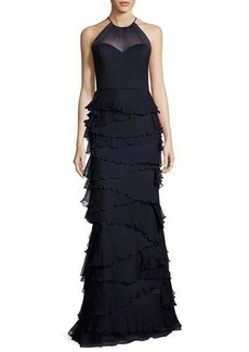 Badgley Mischka Sleeveless Silk Tiered Ruffle Gown