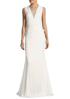 Badgley Mischka Sleeveless Stretch Crepe Rouleau-Button Gown