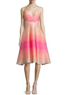 Badgley Mischka Sleeveless Striped-Ombre Dress