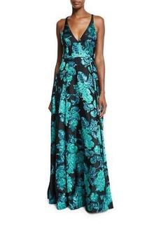 Badgley Mischka Sleeveless V-Neck Beaded Floral Gown