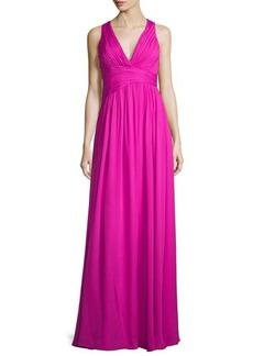 Badgley Mischka Sleeveless V-Neck Draped Chiffon Gown